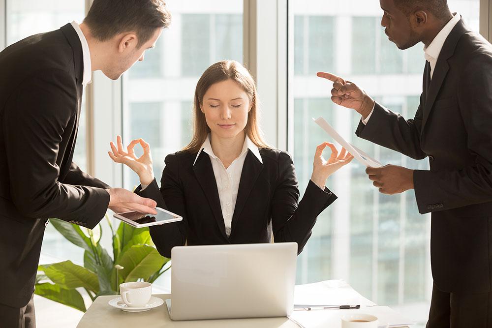 """In unserem Personalentwickungs-Seminar """"Stress und Selbstregulation für Führungskraft und Mitarbeiter"""" lernen die Teilnehmer, auch in schwierigen Situationen mit diskussionsfreudigen Mitarbeitern oder Kollegen den Stress nicht überhand nehmen zu lassen und in Balance zu bleiben."""
